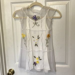 Two piece sheer white dress